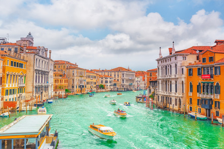 VENICE, ITALY - MAY 11, 2017 :Views of the most beautiful canal of Venice - Grand Canal water streets, boats, gondolas, mansions along. Italy. Editorial
