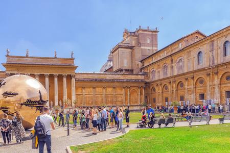 VATICAN, VATICAN- MAY 09, 2017 : Enclosed court of the Vatican, Sphere Within Sphere (Sfera con sfera) is a bronze sculpture by Italian sculptor Arnaldo Pomodoro. Italy.