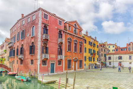 VENICE, ITALY - MAY 12, 2017 : View of one of the most beautiful cities in the world - Venice, the city square with any tourists.  Italy.