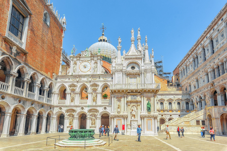 venice: VENICE, ITALY - MAY 12, 2017 :Patio of St. Marks Cathedral (Basilica di San Marcos)and the Doges Palace (Palazzo Ducale) , Italy.