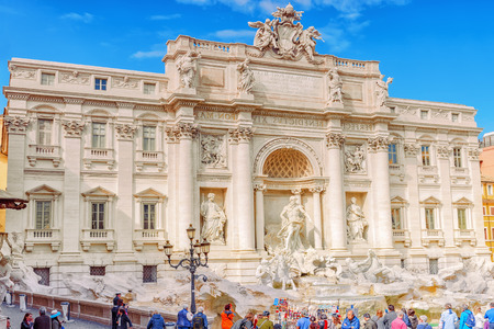 ROME, ITALY- MAY 09, 2017:  Famous and one of the most beautiful fountain of Rome - Trevi Fountain (Fontana di Trevi). Italy.