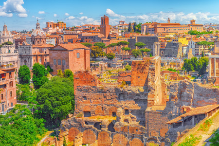 View of the Roman Forum from the Hill of Palatine - a general overview of the entire Roman Forum with all the sights. Italy.