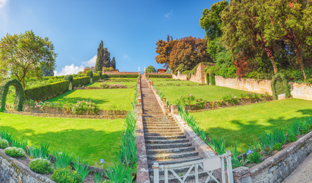 Beautiful landscape panorama on historical view Gardens of Bardini (Giardino Bardini) and Boboli Gardens( Giardino di Boboli). Italy. Stock Photo