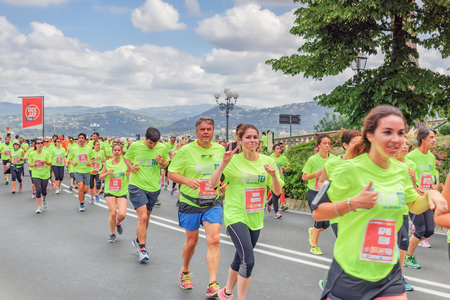 FLORENCE, ITALY - MAY 14, 2017 : Sporting event in Florence, Deejay Ten – Run like a deejay on May 14, an event organized by the company Radio Deejay. It involves running 5 or 10 km through the streets of Florence .Italy.