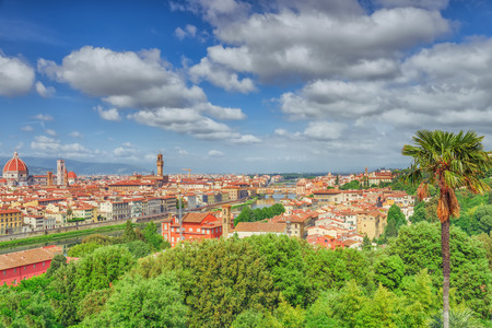 Beautiful landscape above, panorama on historical view of the Florence from Boboli Gardens (Giardino di Boboli ) point. Italy.
