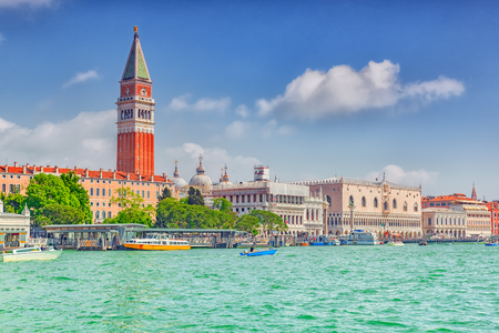 Views of the most beautiful canal of Venice - Grand Canal, and Campanile of St. Marks Cathedral(Campanile di San Marco),Doges Palace (Palazzo Ducale). Italy.