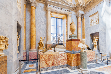 VATICAN-CITY, VATICAN- MAY 09, 2017: Inside the Vatican Museum, one of the largest museums in the world, Vatican. Gallery of ancient sculptures. Italy.