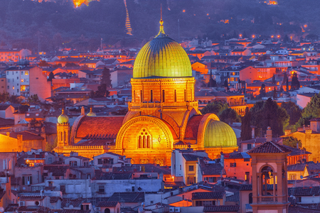 Above view of the Great Synagogue of Florence (Sinagoga e Museo Ebraico).Synagogue in the historic center of Florence. It is the biggest synagogue in the city. Night view. Stock Photo