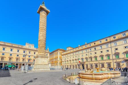 ROME, ITALY - MAY 09, 2017: Column of Marcus Aurelius(Colonna di Marco Aurelio) on Square Column. Rome. Italy. Stock Photo