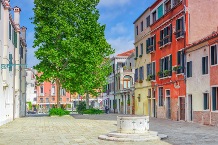 View of one of the most beautiful cities in the world - Venice, the city square with any tourists.  Italy. Stock Photo