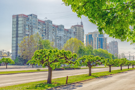 City view of one of the main avenues of Chisinau is Dacia Avenue in summer day. Republic of Moldova. Kishinev.