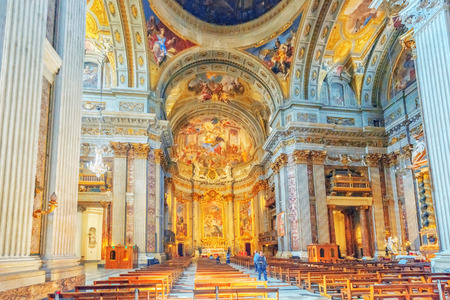 ROME, ITALY - MAY 09, 2017 : Inside the Church of St. Ignatius of Loyola at Campus Martius (Italian: Chiesa di SantIgnazio di Loyola in Campo Marzio. Italy. Editorial