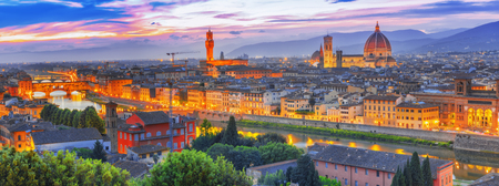 Beautiful landscape above, panorama on historical view of the Florence from  Piazzale Michelangelo point. Night time.Italy. Stock Photo