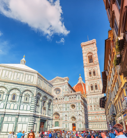 FLORENCE, ITALY- MAY 13, 2017: Santa Maria del Fiore(Cattedrale di Santa Maria del Fiore) and Giottos Belltower (Campanile di Giotto) on Cathedral Square of Frorence (Piazza del Duomo). Editorial