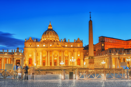 St. Peters Square and St. Peters Basilica, Vatican City in the evening time.Italy.