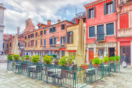 VENICE, ITALY - MAY 12, 2017 : View of the most beautiful places of Venice, narrow streets, houses, city squares. Italy. Editorial