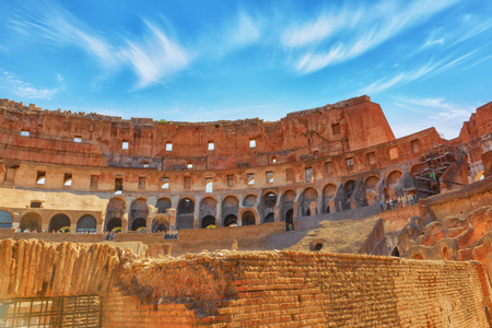 ROME, ITALY - MAY 08, 2017 : Inside the amphitheater of Coliseum in Rome- one of wonders of the world  in the morning time.