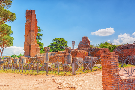 rostrum: View of Palatine Hill (Collina del Palatino), Archaeological and historical objects in Rome. Italy. Stock Photo