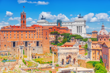 View of the Roman Forum from the Hill of Palatino.The Triumphal Arch of Septimius Severus, Tabularium,Institute for the History of the Italian Risorgimento.