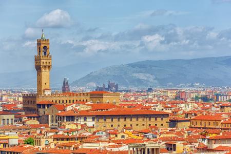 Beautiful landscape above, panorama on historical view of the Florence from Boboli Gardens (Giardino di Boboli ).