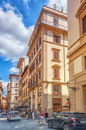 FLORENCE, ITALY- MAY 13, 2017:  Beautiful landscape  urban and historical view of the Florence - the city of the Renaissance on Arno river, street,tourists on it. Italy. Editorial