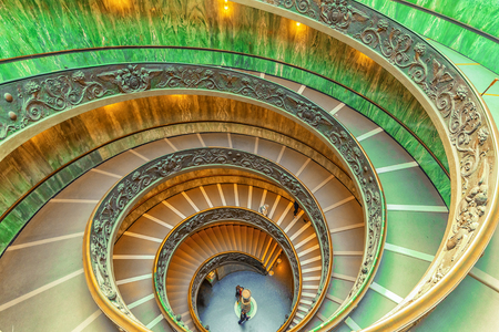 helical: VATICAN-CITY, VATICAN- MAY 09, 2017: Inside the Vatican Museum .Bramante Staircase. Name given to two staircases in the Vatican Museums in the Vatican City State; the original stair, built in 1505.