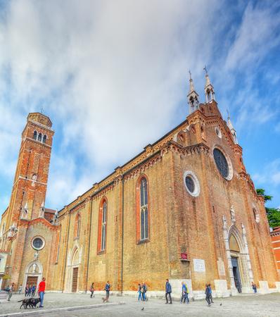 VENICE, ITALY - MAY 12, 2017 : Cathedral of Santa Maria Gloriosa dei Frari (Basilica dei Frari) in Venice. Italy.