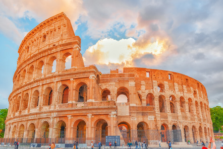 colonnade: ROME, ITALY-MAY 07, 2017:Beautiful landscape of the Colosseum in Rome- one of wonders of the world  in the evening time. Editorial
