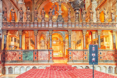 VENICE, ITALY - MAY 11, 2017 : Inside St. Marks Cathedral (Basilica di San Marco) on Square of the Holy Mark (Piazza San Marco). Italy.