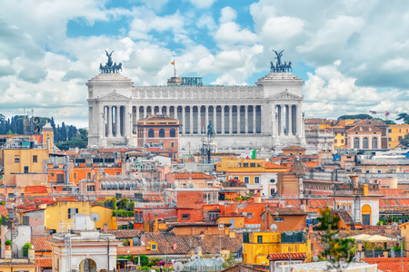 View of the city of Rome from above, from the hill of Terrazza del Pincio.Institute for the History of the Italian Risorgimento. Italy.