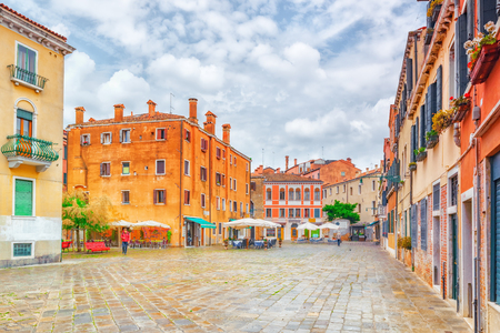 VENICE, ITALY - MAY 11, 2017 : View of the most beautiful places of Venice, narrow streets, houses, city squares. Italy.