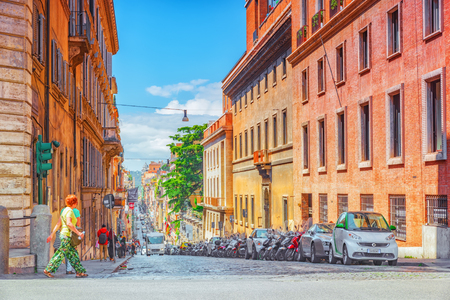 ROME, ITALY-MAY 08, 2017:  Beautiful landscape  urban and historical view of the Rome, street, people, tourists on it, urban life of the Eternal City. Italy.