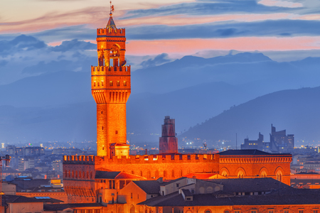 Palace Vecchio (Palazzo Vecchio) in Piazza della Signoria, built in 1299-1314 ,one of the most famous buildings of the city. Night time. Italy. Stock Photo