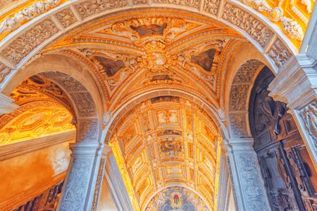 VENICE, ITALY - MAY 12, 2017 : Indoor view of apartament  St. Marks Cathedral (Basilica di San Marco) with beautiful decoration of the internal chambers. Italy.