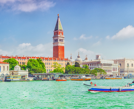 VENICE, ITALY - MAY 12, 2017 : Views of the most beautiful canal of Venice - Grand Canal, and Campanile of St. Marks Cathedral(Campanile di San Marco),Doges Palace (Palazzo Ducale). Italy.