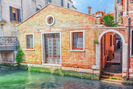 seafronts: Views of the most beautiful channels of Venice, narrow streets, houses.Italy.