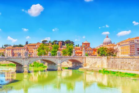 View on Bridge Vittorio Emanuele II (Ponte Vittorio Emanuele II) and Vatican city St. Peters Basilica (Basilica di San Pietro) . Rome. Italy.