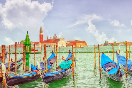 Views of the most beautiful canal of Venice - Grand Canal water streets, and view on  San Giorgio Maggiore (Chiesa di San Giorgio Maggiore). Italy. Stock Photo