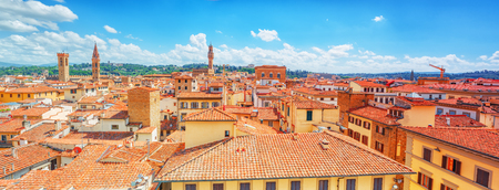 Beautiful landscape above urban and historical view of the Florence from Giottos Belltower (Campanile di Giotto),city of the Renaissance stand on Arno river.Italy. Stock Photo