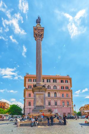 ROME, ITALY - MAY 08, 2017 : Square of Santa Maria Maggiore  (Piazza di Santa Maria Maggiore)and Colonna della pace in Rome near church-Santa Maria Maggiore, with people and tourists.