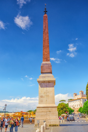 ROME, ITALY- MAY 08, 2017:  Beautiful landscape  and historical view of the Rome, people, tourists on it. Obelisk Sallustiano(Obelisco Sallustiano) near Spanish Steps.Italy.