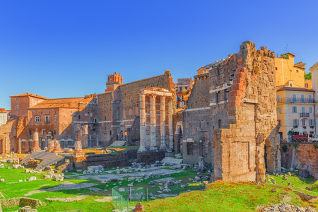 Landscape of the  Rome- one of most beautiful cities in the world: Trajans Forum (Foro Traiano), The House of the Knights of Rhodes (Casa dei Cavalieri di Rodi).