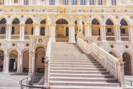 Stairs in Patio of St. Marks Cathedral (Basilica di San Marcos)and the Doges Palace (Palazzo Ducale) , Italy.