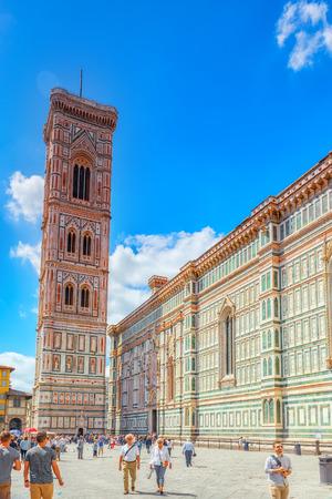 FLORENCE, ITALY- MAY 13, 2017: Santa Maria del Fiore(Cattedrale di Santa Maria del Fiore) and Giottos Belltower (Campanile di Giotto) on Cathedral Square of Frorence (Piazza del Duomo). Editorial