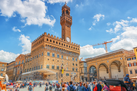 FLORENCE, ITALY- MAY 13, 2017: Palace Vecchio (Palazzo Vecchio) in Piazza della Signoria, built in 1299-1314 ,one of the most famous buildings of the city. At present it serves as the town hall.