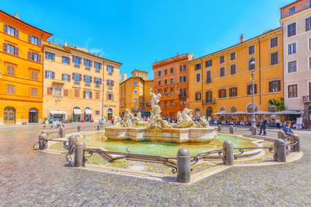 ROME, ITALY - MAY 09, 2017 : Piazza Navona  is a square in Rome, Italy. It is built on the site of the Stadium of Domitian, built in 1st century AD. Fountain of the Moor (Fontana del Moro). Editorial