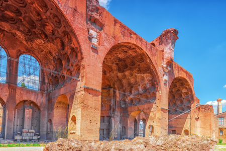 severus: Archaeological and historical objects in Rome, united by the name - Roman Forum and Palatine Hill. Basilica of Maxentius (Basilica di Massenzio).