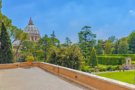VATICAN, VATICAN- MAY 09, 2017 : Enclosed court of the Vatican, from the window of the Vatican Gallery. Italy.