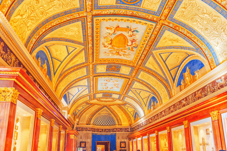 VATICAN, VATICAN - MAY 09, 2017: Inside the Vatican Museum, one of the largest museums in the world, Vatican Galleries frescoes. Italy.