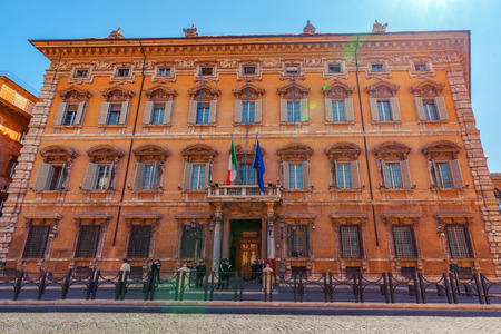 ROME, ITALY- MAY 09, 2017:  Beautiful landscape of Madama Palace (Palazzo madama). Palazzo Madama  in Rome is the seat of the Senate of the Italian Republic. Italy. Editorial